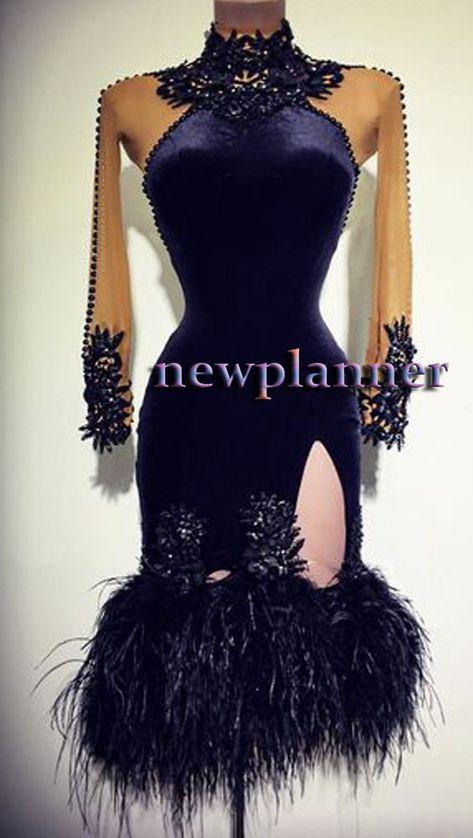 9ffb86e699a Women Latin Rhythm Salsa Rumba Dance Dress US 10 UK 12 Flesh Velvet Black