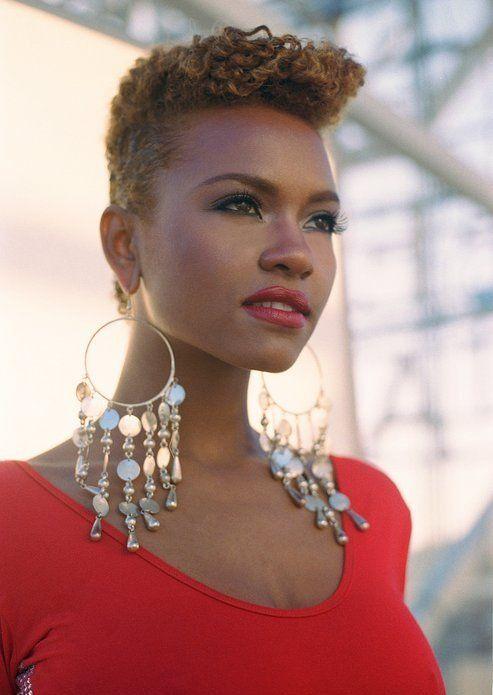 Short Natural Hairstyles For Black Women   Big earrings ...