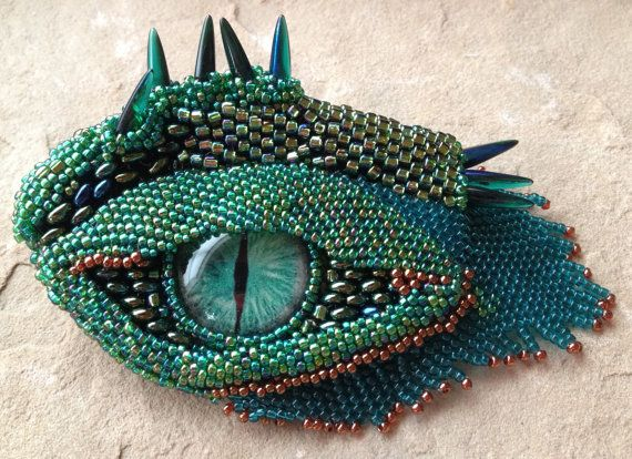 Green Dragon's Eye with Brow Ridge by mommysmoon on Etsy
