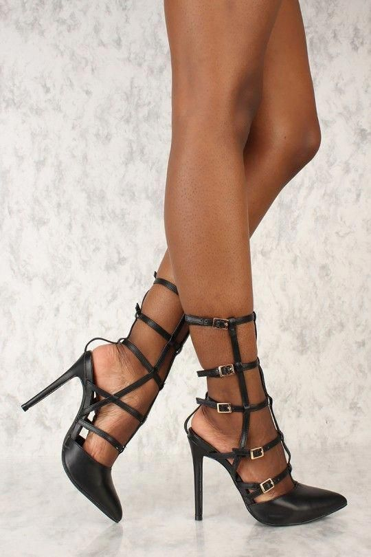 81550a307371 Sexy Black Strappy Platform High Heels Patent Faux Leather