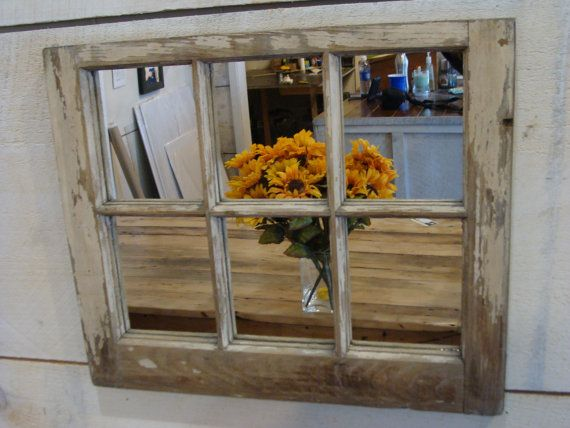 Reclaimed wood original finish antique repurposed rustic 6 pane window mirror. FREE SHIPPING!