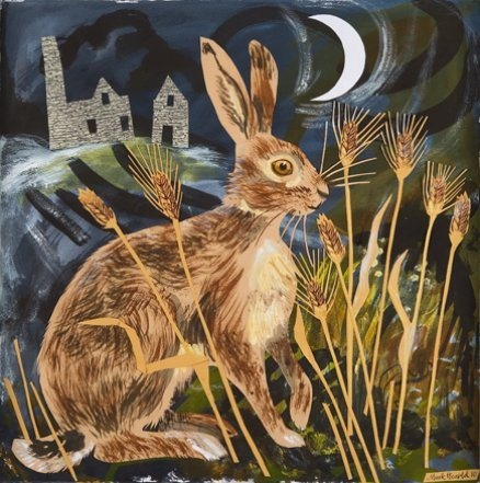 Mark Hearld, collage, hare, illustration, moon, nature, painting, print, texture, layers