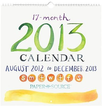 2013 Paper Source Academic Watercolor Art Wall Calendar -- MUST have for my office!