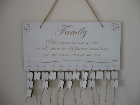 Family Birthday Board, Wooden Family Birthday Calendar, Birthday, Anniversary Reminder Plaque, Shabby Chic Family Calendar