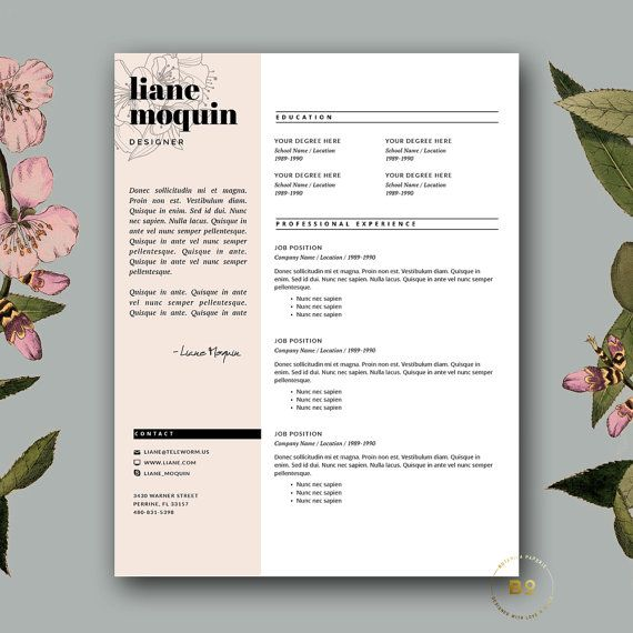 Stylish Resume Template + Cover Letter | Creative Resume Design | Feminine Resume for MS Word & iWork Pages | Instant Digital Download ★ BotanicaPaperieShop