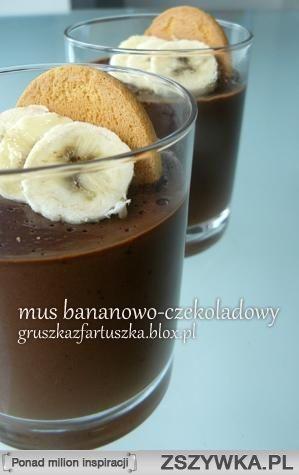 Mus bananowo- czekoladowy Składniki: - 200 ml kremówki - 100.. na Słodkościi ♥ - Zszywka.pl