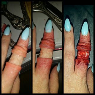 Step by step pics of my degloved finger makeup all made out of scar wax and coloured with @mrdashbo