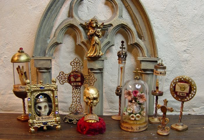 a lot of beautiful, horrifying relicshrines by EV Miniatures: Reliquaries