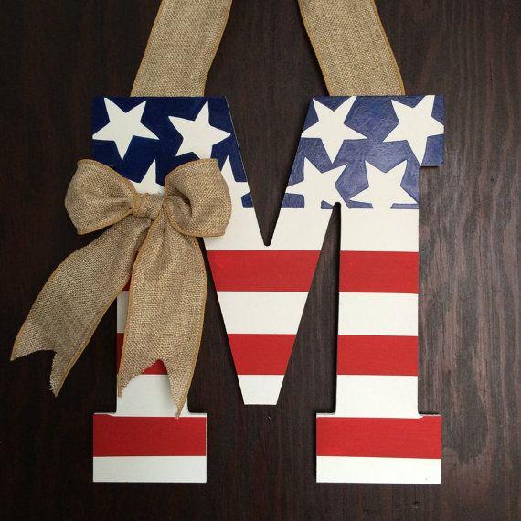 NEW Design for 2015, American Flag Monogram, Personaized Door Decor, American Flag Wreath