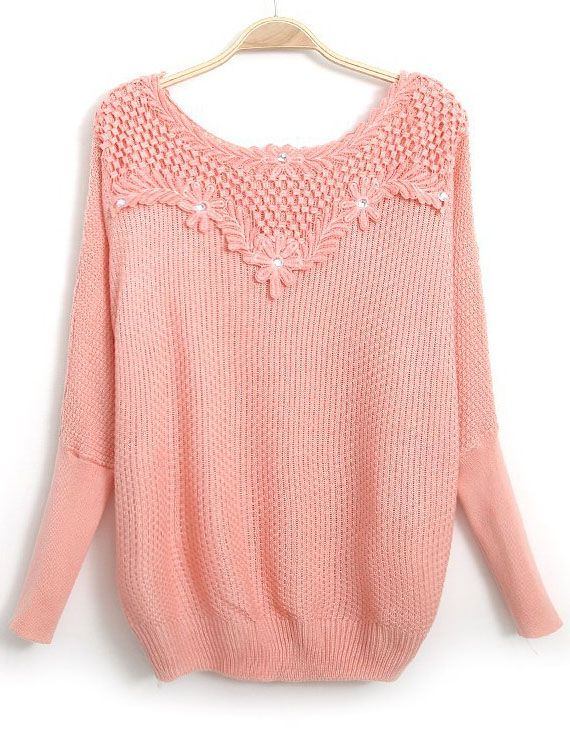 Pink Long Sleeve Embroidered Bead Knit Sweater US$24.43