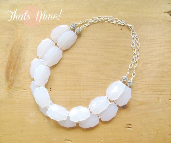 White chunky Necklace with silver rhinestone by ThatsmineBoutique, $45.00