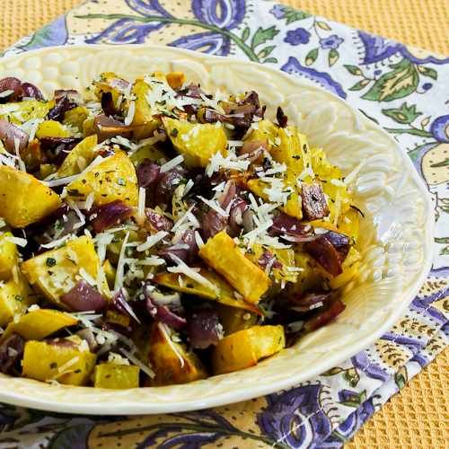 Roasted White Sweet Potatoes with Red Onion, Rosemary, and Parmesan is a delicious side dish.  [Kalyn's Kitchen]