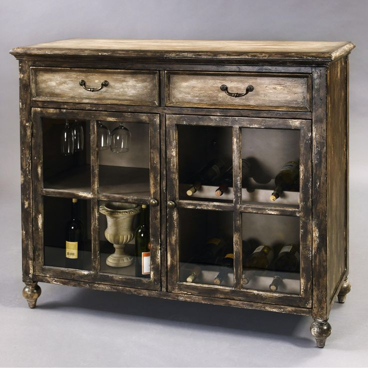 Two Drawer Wine Cabinet With An Interior Stemware Rack And Bottle Slots.  Product: Wine Cabinet Construction M.