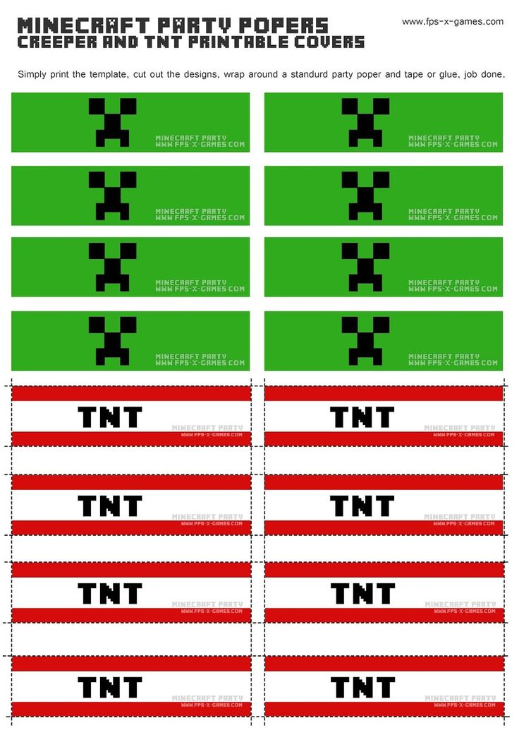 Printable Minecraft Creeper & TNT party popper cover templates