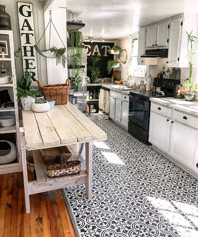 Painted Kitchen Cabinet Ideas The Cutest Kitchen By Julia Altork Photography Diy Stenciled Kitchen Augus Kitchen Flooring Kitchen Design Kitchen Remodel