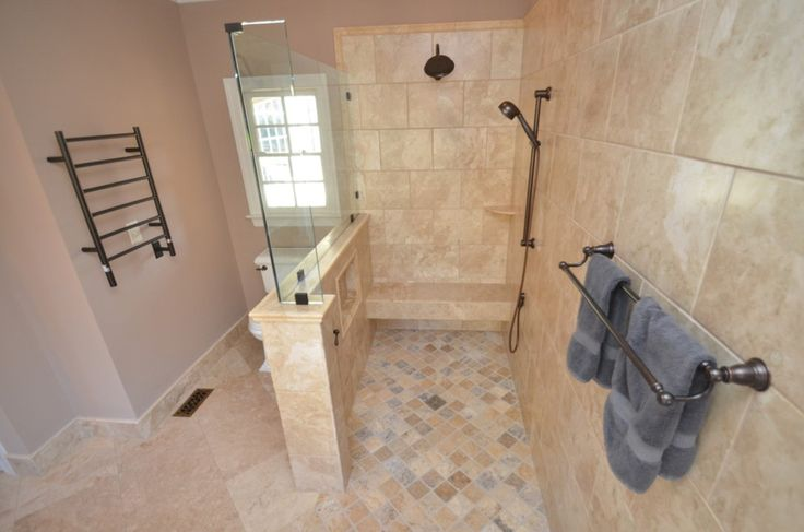 Tiled Half-wall With Glass Above. And Notice The Shower
