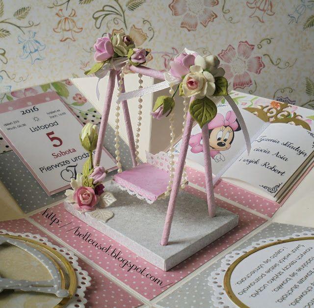 Pudełko na roczek, kartka na urodziny, exploding box, birthday box
