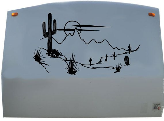 Cactus Tree Mountains RV Camper Decal Sticker Graphic Custom Text ...