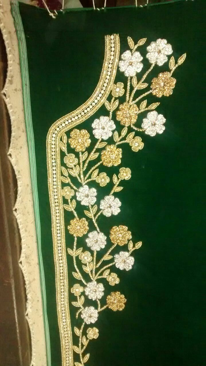 Emerald green caftan with silver & gold sworski element