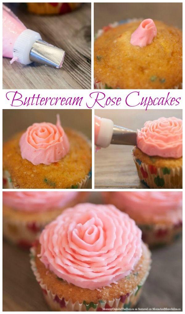 Buttercream Rose Cupcake Tutorial #Cupcakes #Icing