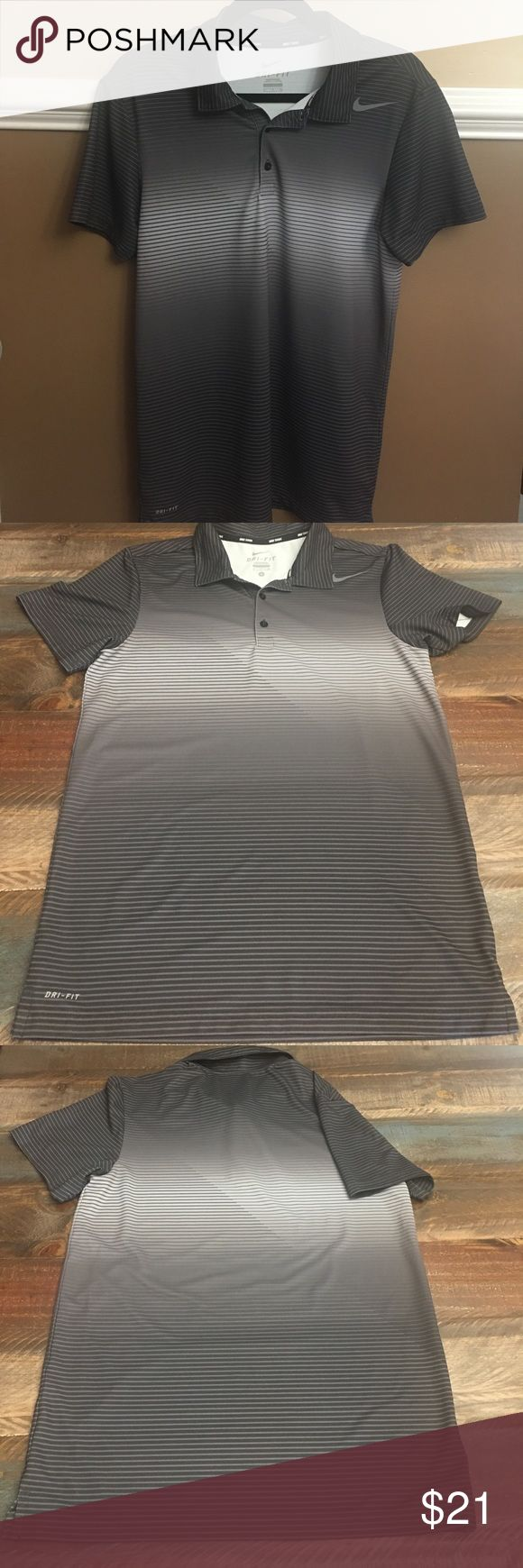 Nike Dri - Fit short sleeve shirt Like new in perfect condition , maybe worn once. Nike Men's Dri - fit short sleeve collard shirt. Super nice & soft in shades of grey Nike Shirts