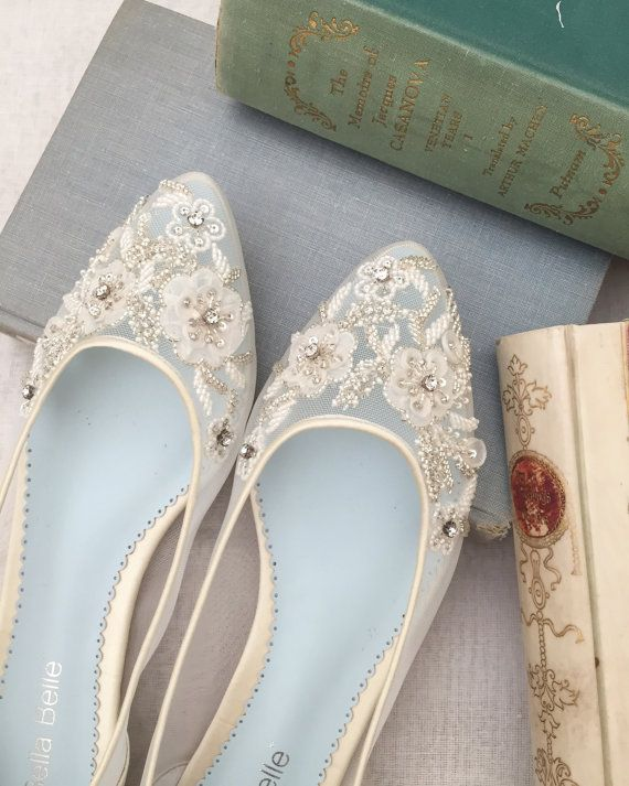 Beautiful Wedding Flats with Mesh and Flower Embroidery Beads Bridal Shoes - Glass Slipper with 'Something Blue'