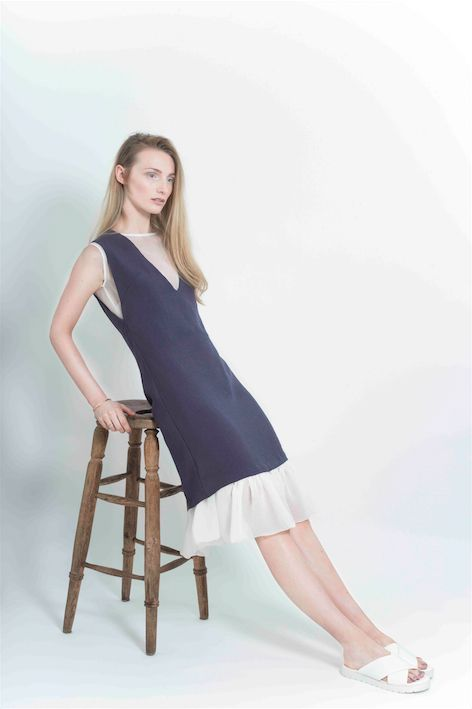 Sheer Ruffle Dress Slip  Navy Deep V Dress   Photographer: Aaron Hurley  Styling: Laura Mullett  Hair: Maricia at Davey Davey  Make-up: Beata Augustyniak  Model: Bronwyn at Distinct Model Management Zoe Carol