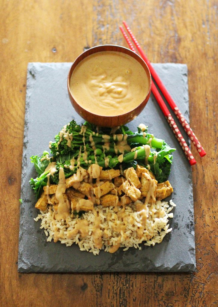 Marinated Tofu with Garlic Rice, Green Vegetables and Peanut Satay Sauce - Vegan and Gluten Free