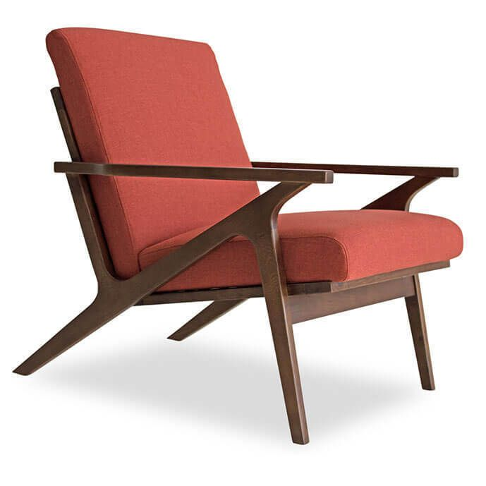 Adalyn Mid Century Modern Red Orange Accent Z Chair S