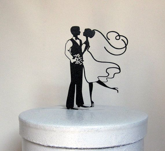 This Bride and Groom Wedding Cake topper made of 1/8 black ABS Size; 4.85W x6H We can make any sizes and any shapes, Just email your file for