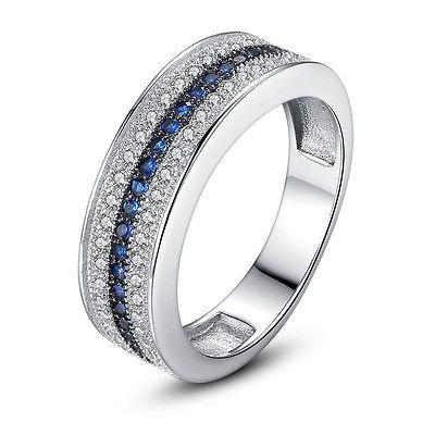 925 silver jewelry round cut blue sapphire women elegant wedding ring size 6 10 - Elegant Wedding Rings