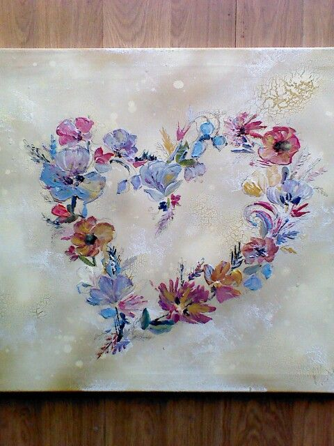 Heart flower canvas by Rebecca Yoxall. Acrylic flowers using pallette knife, crackle glaze spray paint background, pen line detail. Canal barge, gypsy caravan inspired design