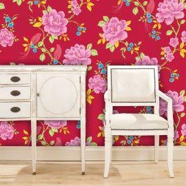 10 meter lang 53 cm breed patroon behang plakken met normaal behanglijm papier kleur :roze rood