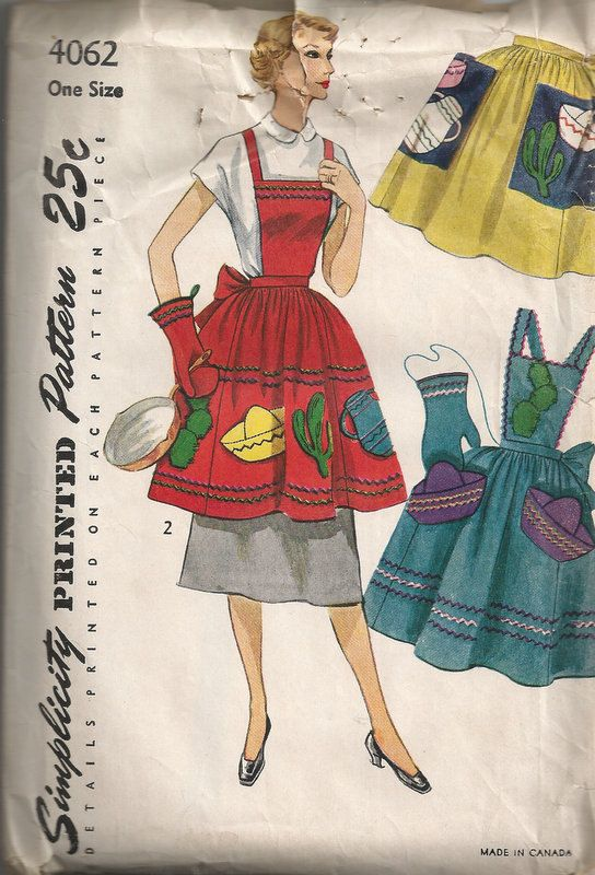 1952 Bib Apron and Half Apron with Transfer, Mitt Shaped Pot Holder Vintage Simplicity 4062 One Size on Etsy, $34.55