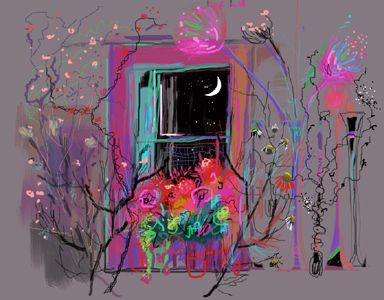Moon and flowers. Kathy Lewis. Digital art. iPad painting.