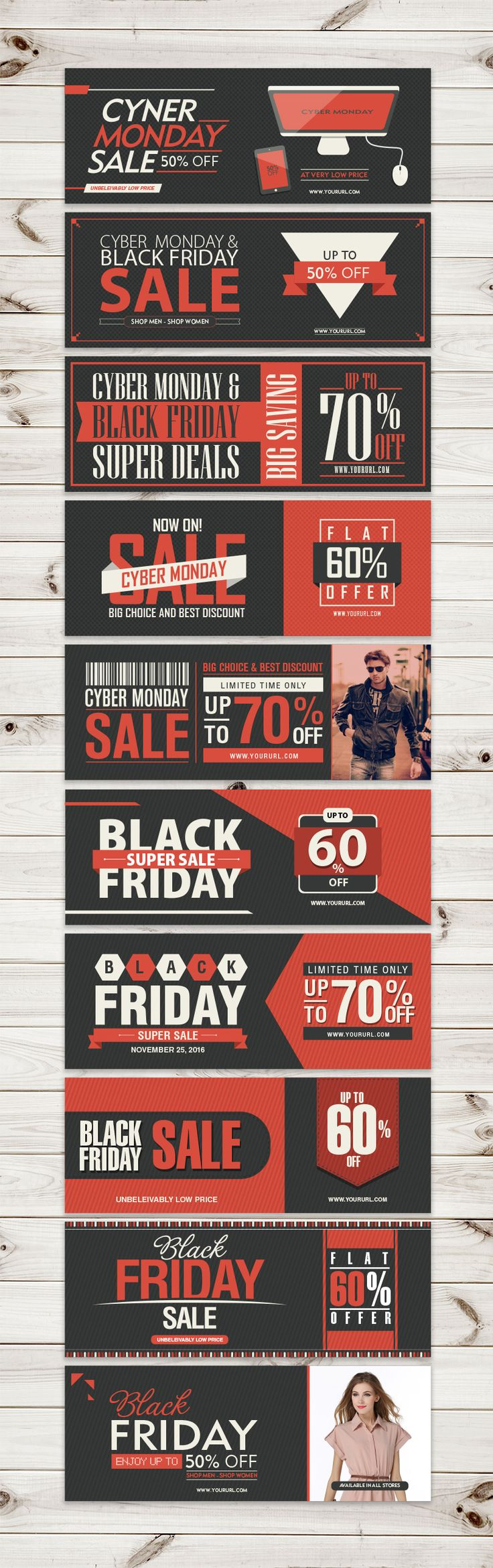 Black Friday & Cyber Monday Web Banners in Ai, EPS, CDR & PDF Format                                                                                                                                                                                 More