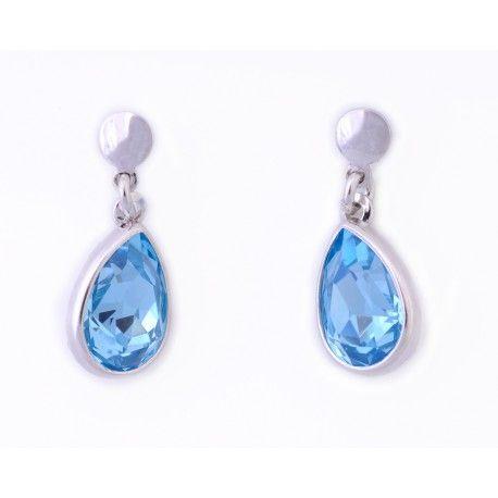 Pendientes plata de ley con piedra swarovski azul agua marina #joyas #brugine #pendientes