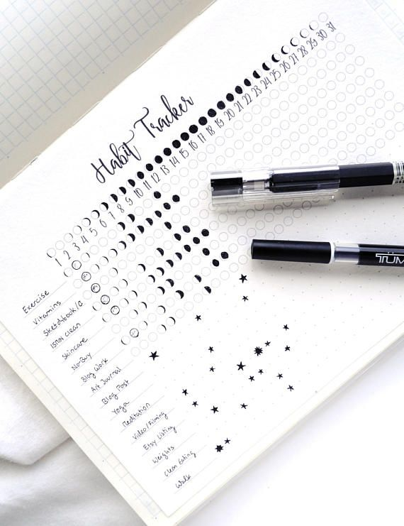 A printable habit tracker with a moon phases aesthetic. Perfect if you love both minimalist and whimsical layouts in your bullet journal or planner. (new: Includes a Travelers Notebook insert size!) 1) Track the habits you want to stick to on a daily basis by filling in the moon phase