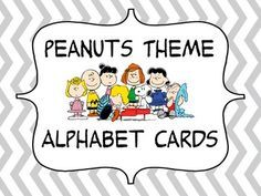 Peanuts+theme+alphabet+cards+with+each+page+containing+2+cards.+There+is+a+total+of+14+pages.+