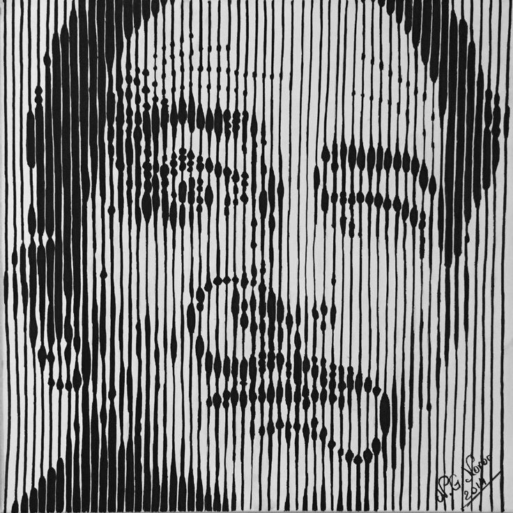 Striped portrait of Salvador Dali Uniposca on canvas 50x50