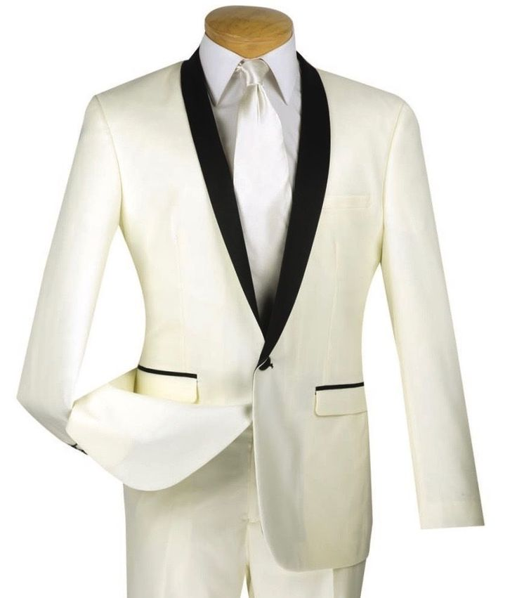 Men's Ivory Slim-Fit One Button Formal Tuxedo Suit NEW w/ FREE Shipping #suits #menswear #tuxedo #wedding #prom