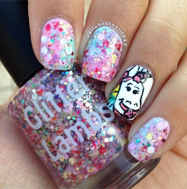 Cotton Candy Glitter Nails: 17 Best Images About Cartoon Nails On Pinterest