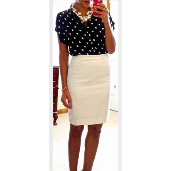 Cream/ White Silk Pencil Skirt This is a brand new, never worn white/ cream silk pencil skirt, size 10 from Forever 21. So cute! Comes from a smoke free and pet free home!  Forever 21 Skirts Pencil