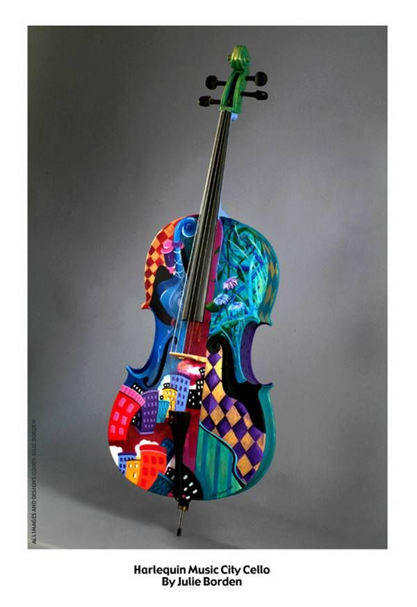 Cello abstractly painted by Julie Borden, cheerful colors, of magic music are real masterpiece of art. This I would love to have!