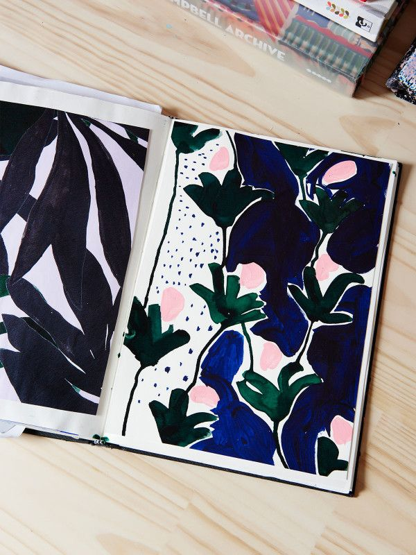 Melbourne-based textile and surface designer Cassie Byrnes with one of her…