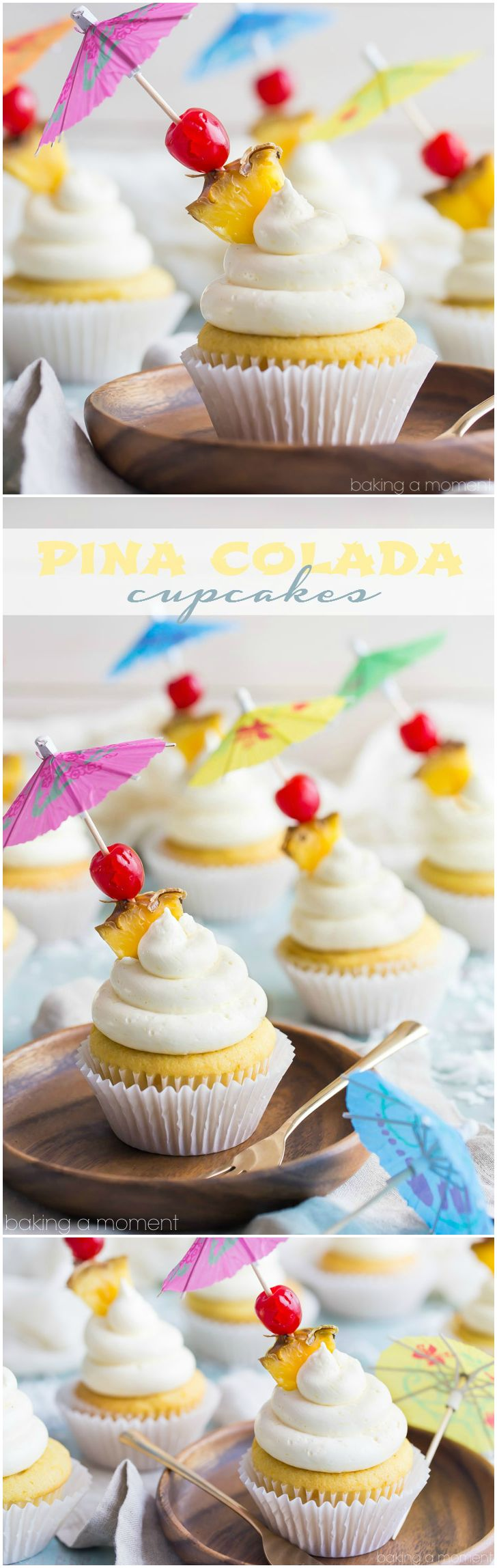 Pina Colada Cupcakes- just like my favorite tropical cocktail! The pineapple and coconut flavors really shine in this recipe :)  food desserts cupcakes