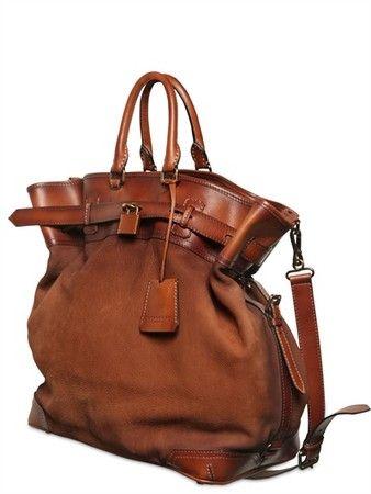 BURBERRY PRORSUM Tarnished Nubuck Leather Bag