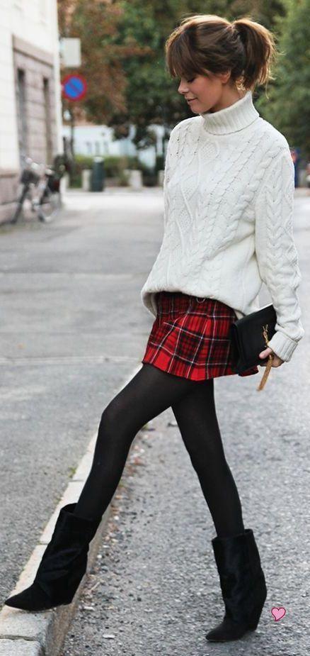 Tartan mini, cable knit oversized sweater, opague stockings & boots