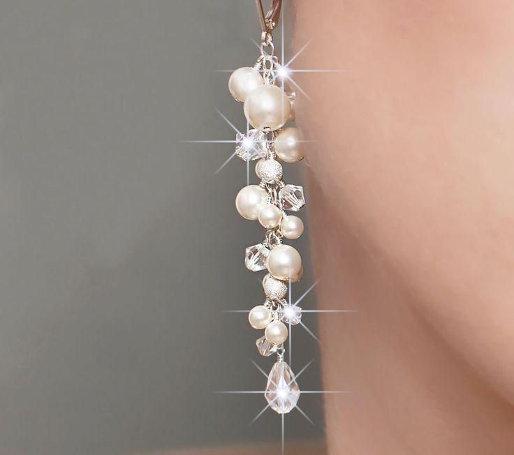 Wedding Earrings, Pearl Bridal Earrings, Long Pearl and Crystal Wedding Jewelry. $88.00, via Etsy.