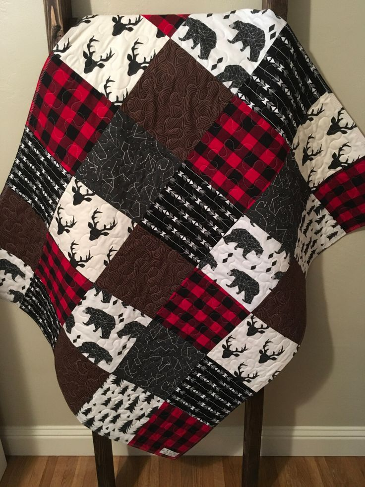 Baby Boy Quilt-Rustic Baby Quilt-Deer Baby Quilt-Baby Boy Crib Bedding-Woodland-Buffalo Red Plaid-Bear-Arrow-Trees-Modern Baby Blanket by SewAndArrowQuilts on Etsy https://www.etsy.com/listing/492239743/baby-boy-quilt-rustic-baby-quilt-deer